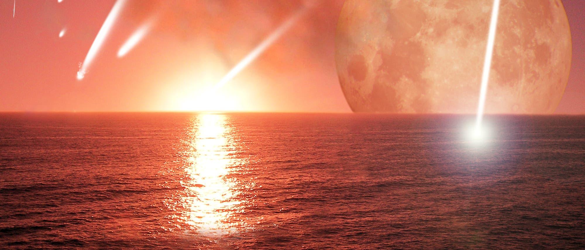 Einschläge auf der frühen Erde (Illustration)