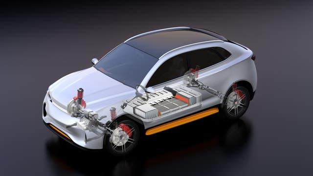3D-Grafik des Innenlebens eines Elektroautos