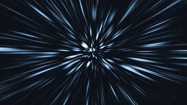 Sterne als Striche - so sieht das Reisen mit Warp-Geschwindigkeit in Star Trek aus.