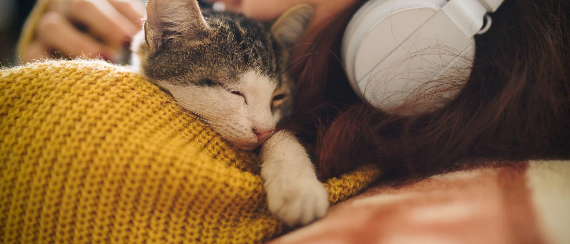 Frau kuschelt mit Katze und hört dabei Musik