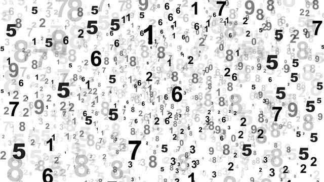 Schwarze Zahlen auf weißem Hintergrund