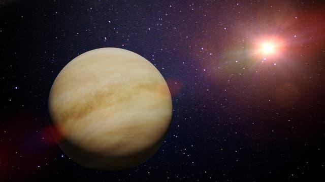 Die künstlerische Darstellung zeigt den Planet Venus in unserem Sonnensystem.