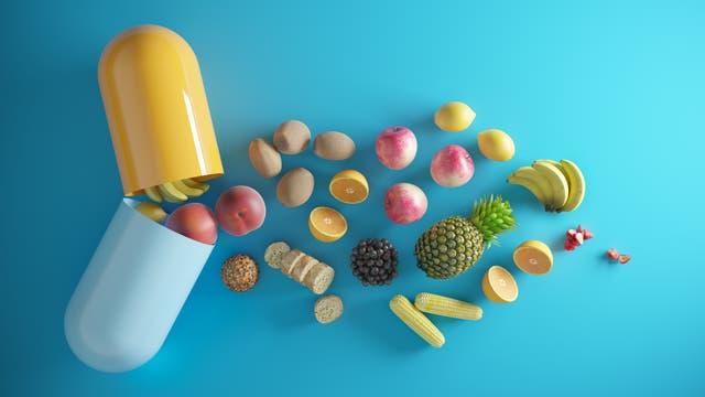 Obst und Brot in Tablettenform