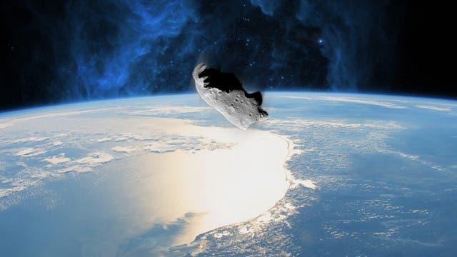Künstlerische Darstellung eines Meteoriteneinschlags