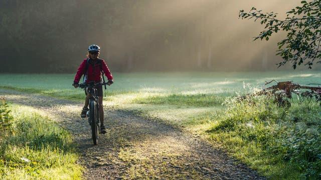 Eine Frau radelt in der Morgensonne über eine Lichtung im Wald