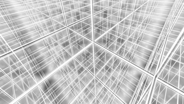 Blick in ein dreidimensionales kubisches Gitter.