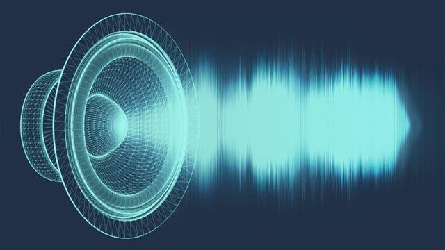 Schwingende Schallwellen aus einem Lautsprecher