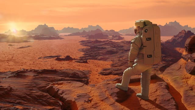 Astronaut auf dem Mars (künstlerische Darstellung)