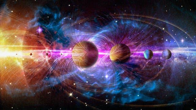 Die künstlerische Darstellung zeigt ein Sonnensystem.