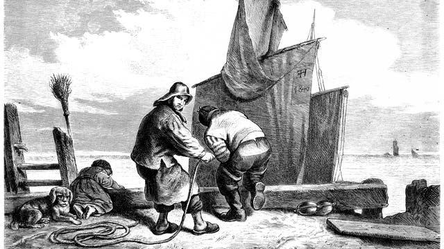 Fischer und ihr Boot. Illustration.