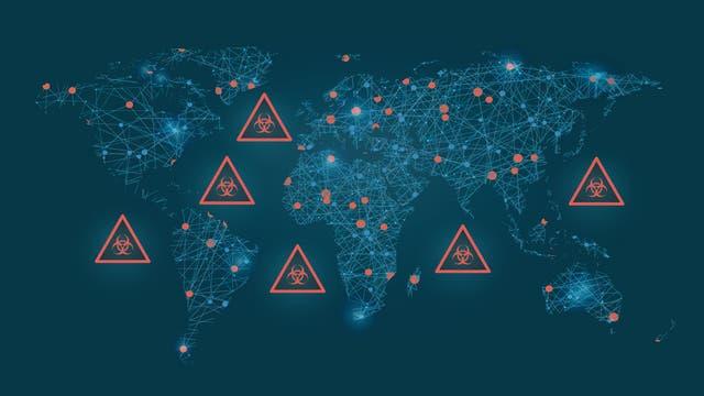 Weltkarte mit Biohazard-Symbol