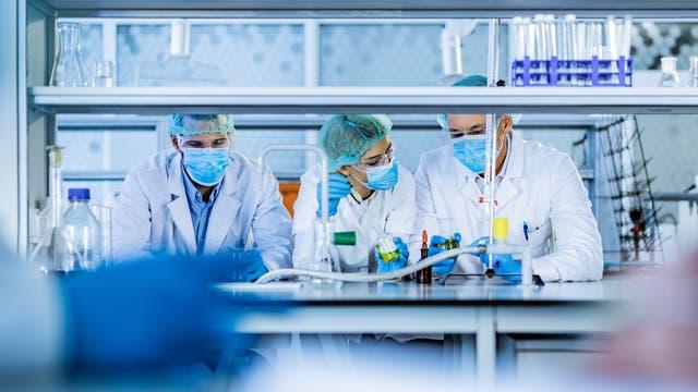 Drei Forscher arbeiten mit Schutzmasken im Labor.