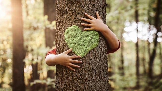 Kind umarmt Baum mit Herz drauf
