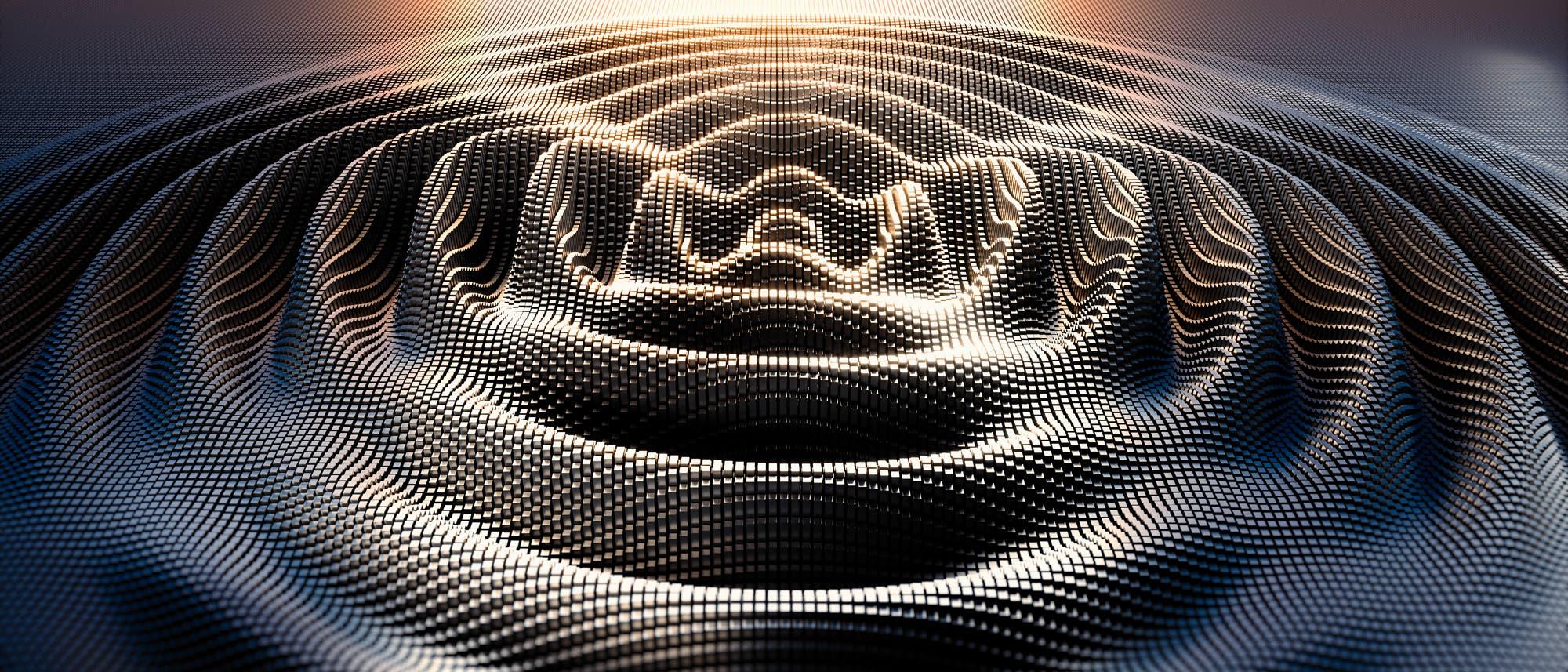 Konzentrischer Wellenzug, der aus Punkten aufgebaut ist.