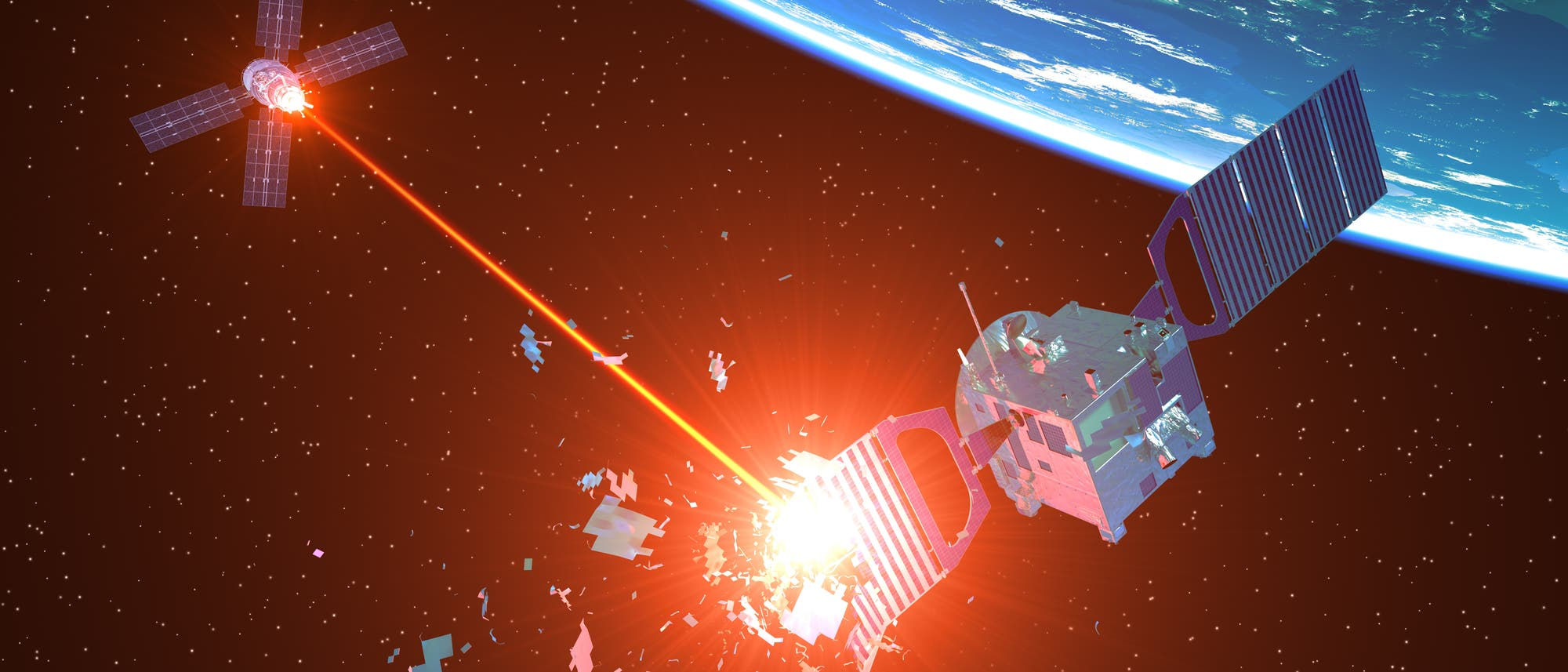 Raumflugkörper attackiert Satelliten mittels Laserstrahl.