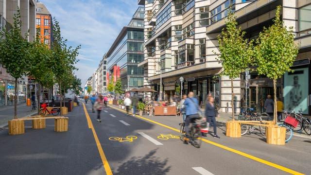 Pop-up-Radweg in der Stadt
