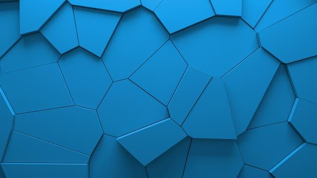 Voronoi-Regionen als unterschiedlich stark herausgehobene blaue Blöcke.