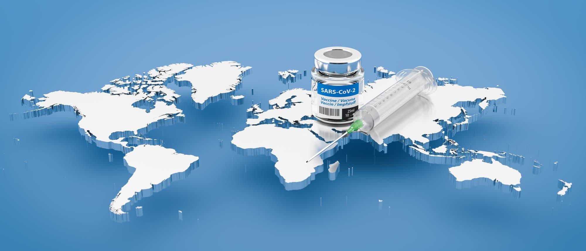 Corona-Impfstoff auf der Weltkarte