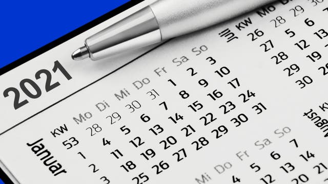 Foto eines Kalenders, Ausschnitt auf den Januar.