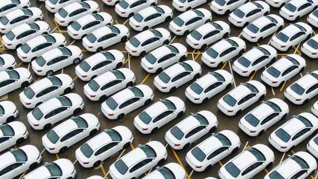 Einheitlich weiße Autos auf dem Parkplatz einer Autofabrik