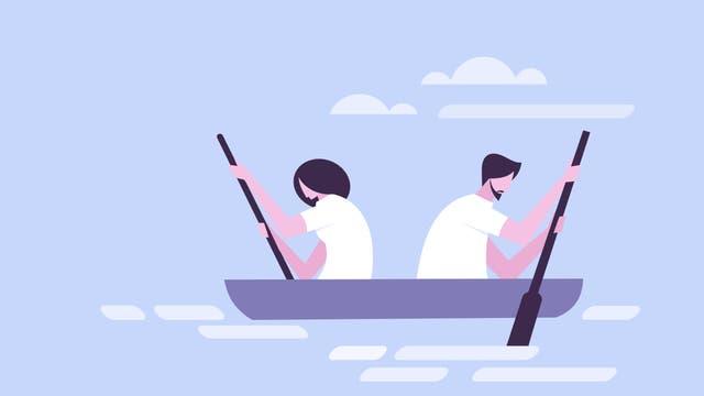 Mann und Frau rudern in entgegengesetzte Richtung