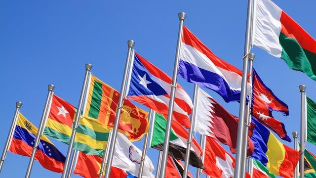 Diverse Nationalflaggen an eng stehenden Fahnenmasten.