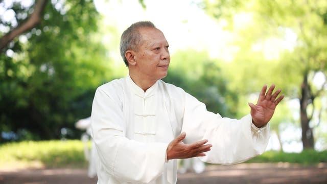 Älterer Asiate praktiziert Tai Chi im Grünen