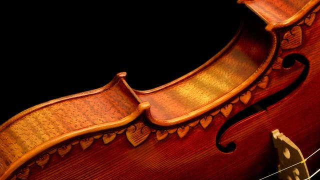Eine Violine vor schwarzem Hintergrund. Wie sie wohl klingt?