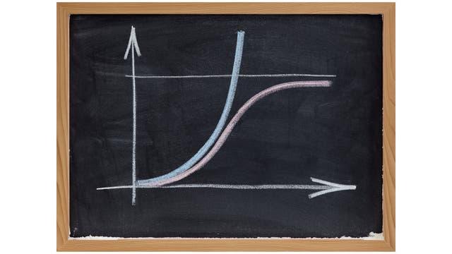 Schultafel mit Graphen exponentieller und logarithmischer Funktionen.