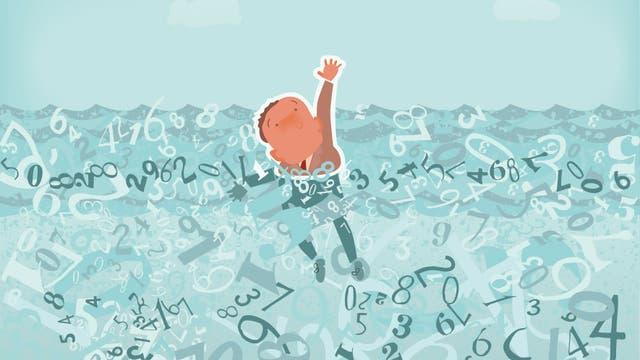 Ein Mann ertrinkt in einem Meer von Informationen