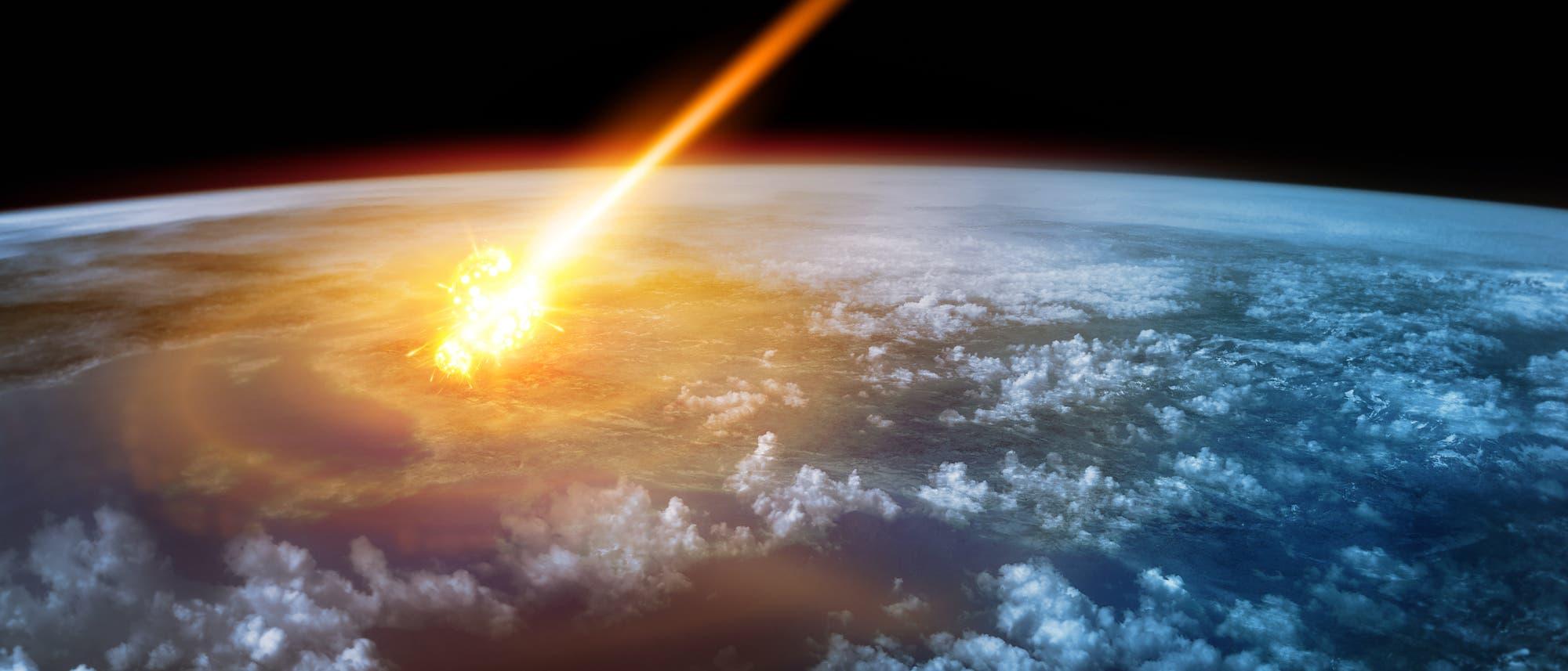 Künstlerische Darstellung eines Meteors, der in der Atmosphäre explodiert