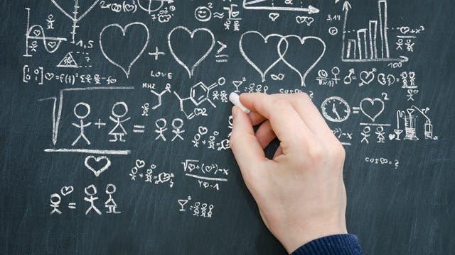 Ein extrem albernes Symbolbild über Formeln und Liebe.