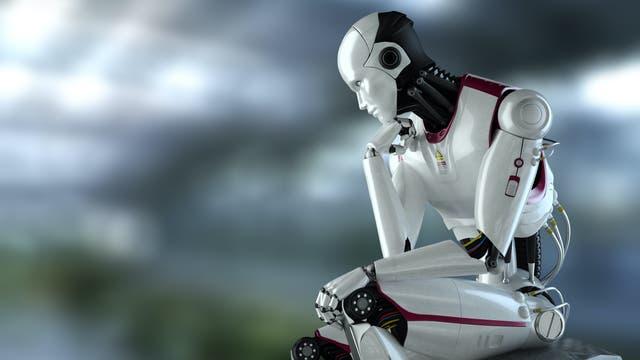 Roboter in Denkerpose