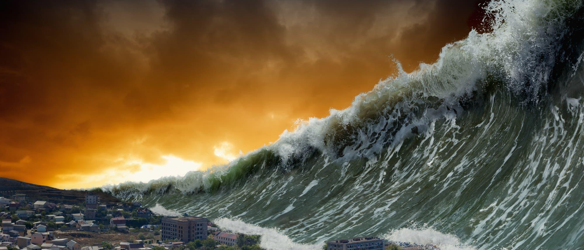 Tsunami – leicht übertriebene Darstellung