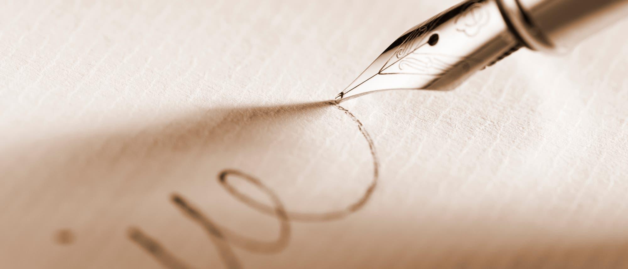 Handschrift mit Füllfeder