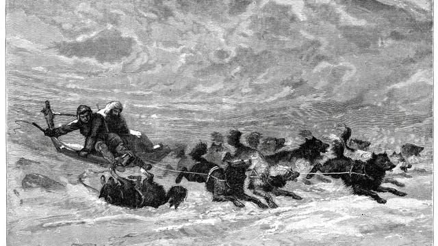 Hundeschlitten der Inuit. Stich aus dem Jahr 1878