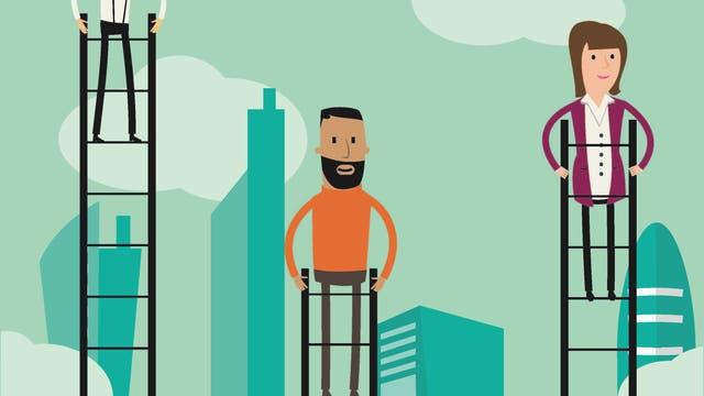 Wie hoch man auf einer Leiter steht, ist nicht immer entscheidend - hauptsache, es steht noch jemand tiefer