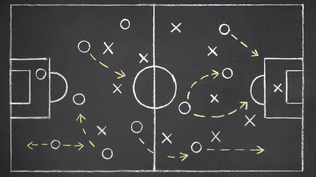 Ein Tafelbild zeigt Aufstellung und Räume auf dem Fußballfeld