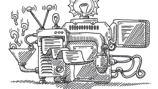 Eine ziemlich kompliziert aussehende Maschine bei der Arbeit