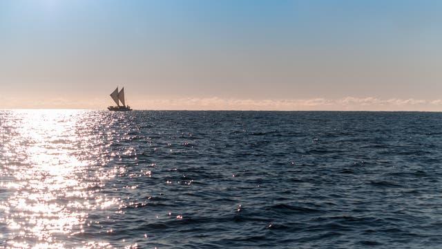 Maori-Segelboot auf dem Meer.