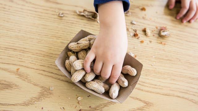 Kind greift nach Erdnüssen