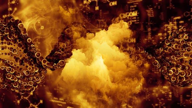 Bläschen und Moleküle vor einem vage nach Geysir aussehenden Hintergrundbild, alles in den Braun- und Gelbtönen, die dem Chemiker anzeigen, dass der größte Teil seiner teuren Chemikalien gerade zu unbrauchbarem Schlonz verkocht ist.