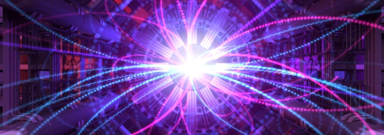 Stilisierte Teilchenspuren vor dem Hintergrund eines Detektoraufbaus.