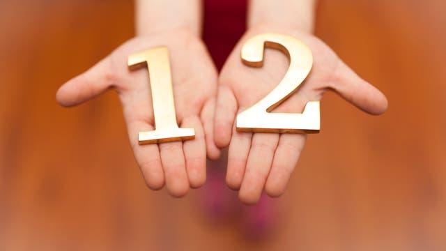 Zwei Hände mit aus Goldblech gefertigten Ziffern 1 und 2.