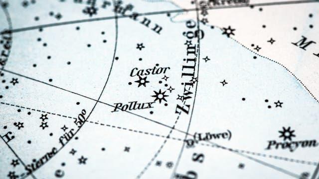 Historische Sternkarte mit Sternbild Zwilling