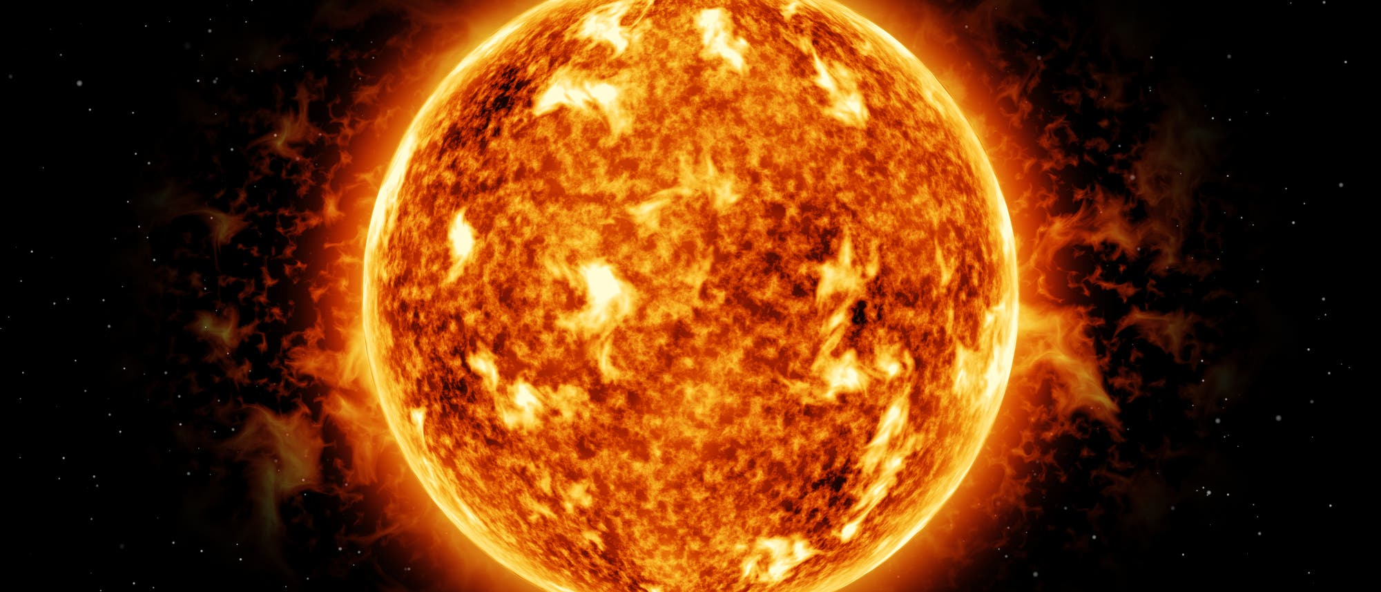 Sonne mit Flares und Sonnenflecken