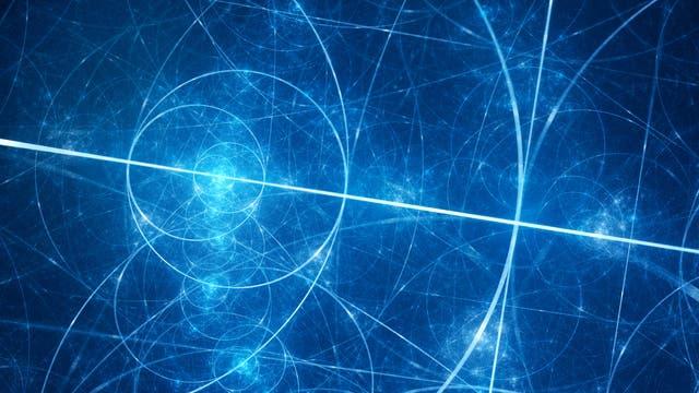 Abstraktes Muster aus blau glühenden Kreisen und Linien.