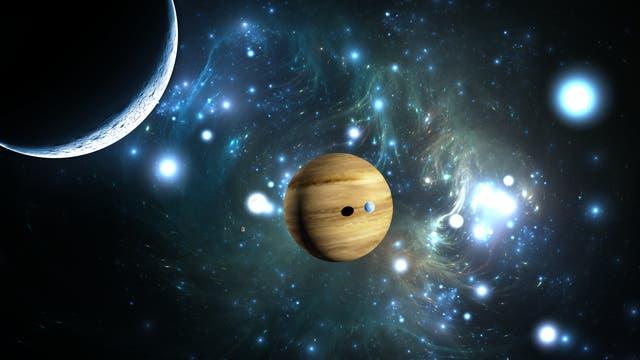 Illustration eines Exoplaneten mit Mond