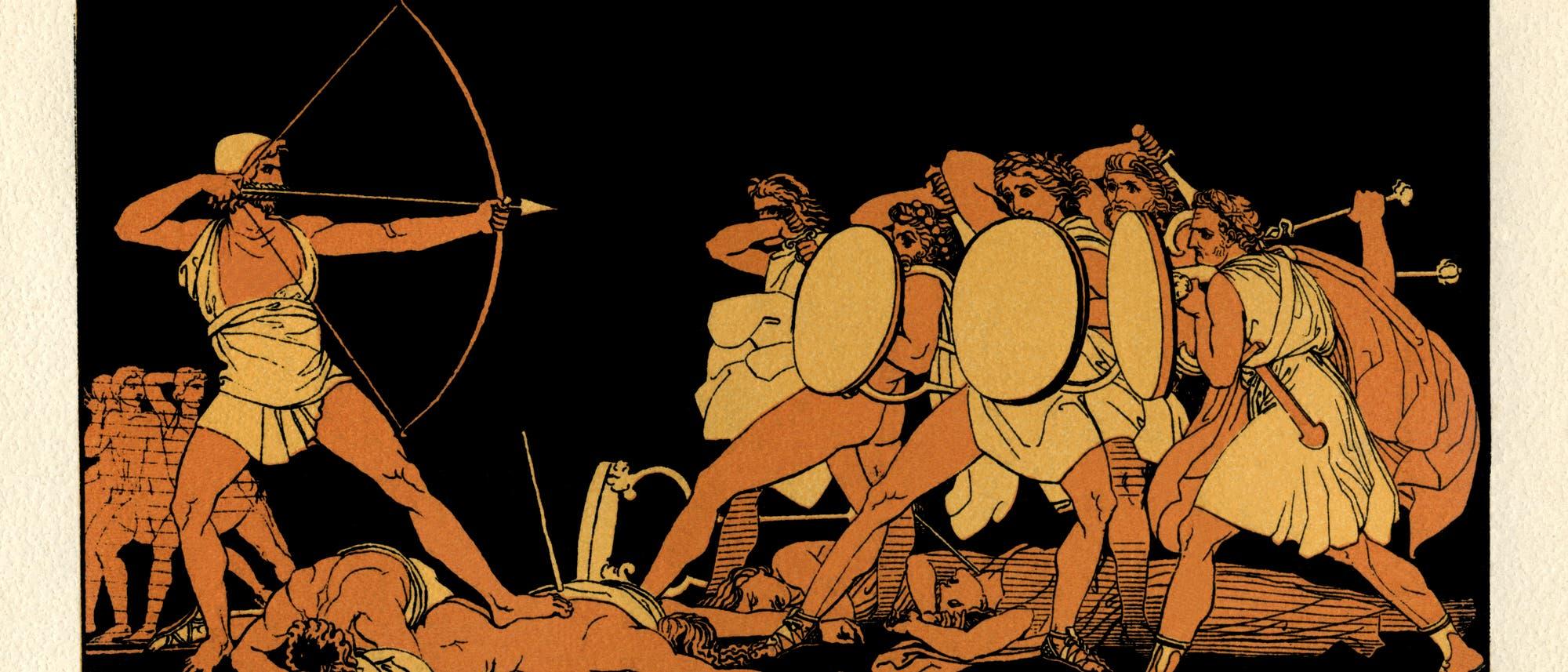 Odysseus tötet die Freier seiner Frau