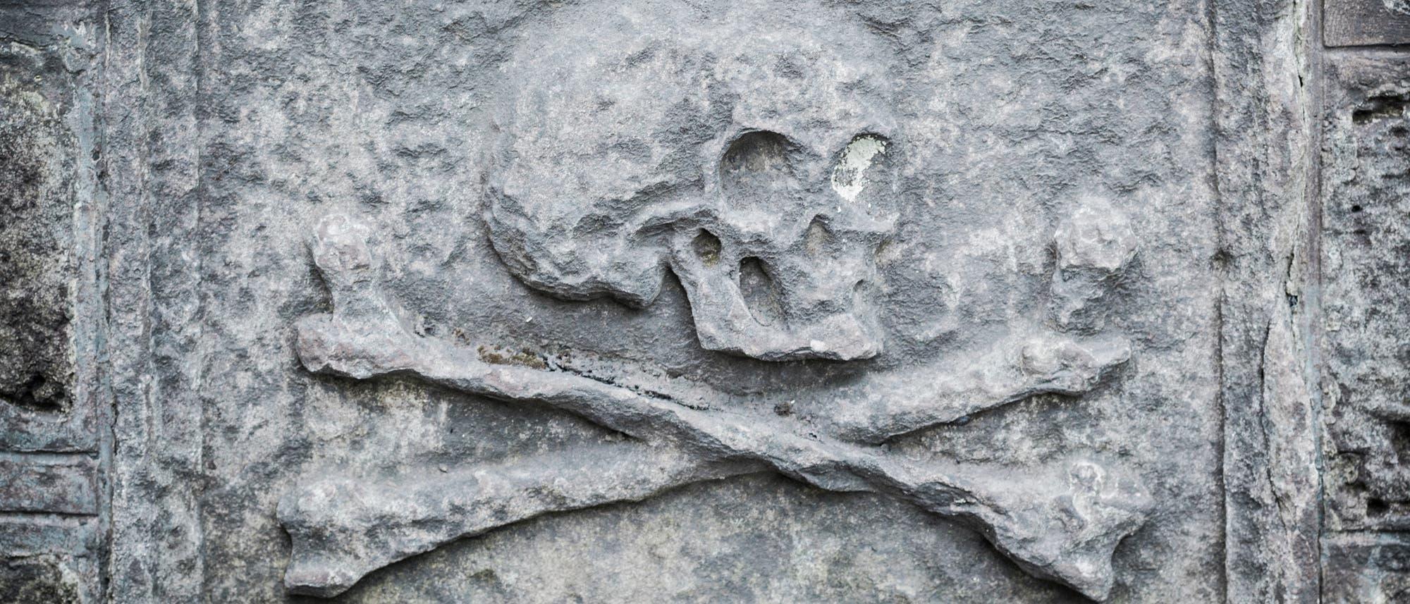 Knochendarstellung auf Grabstein